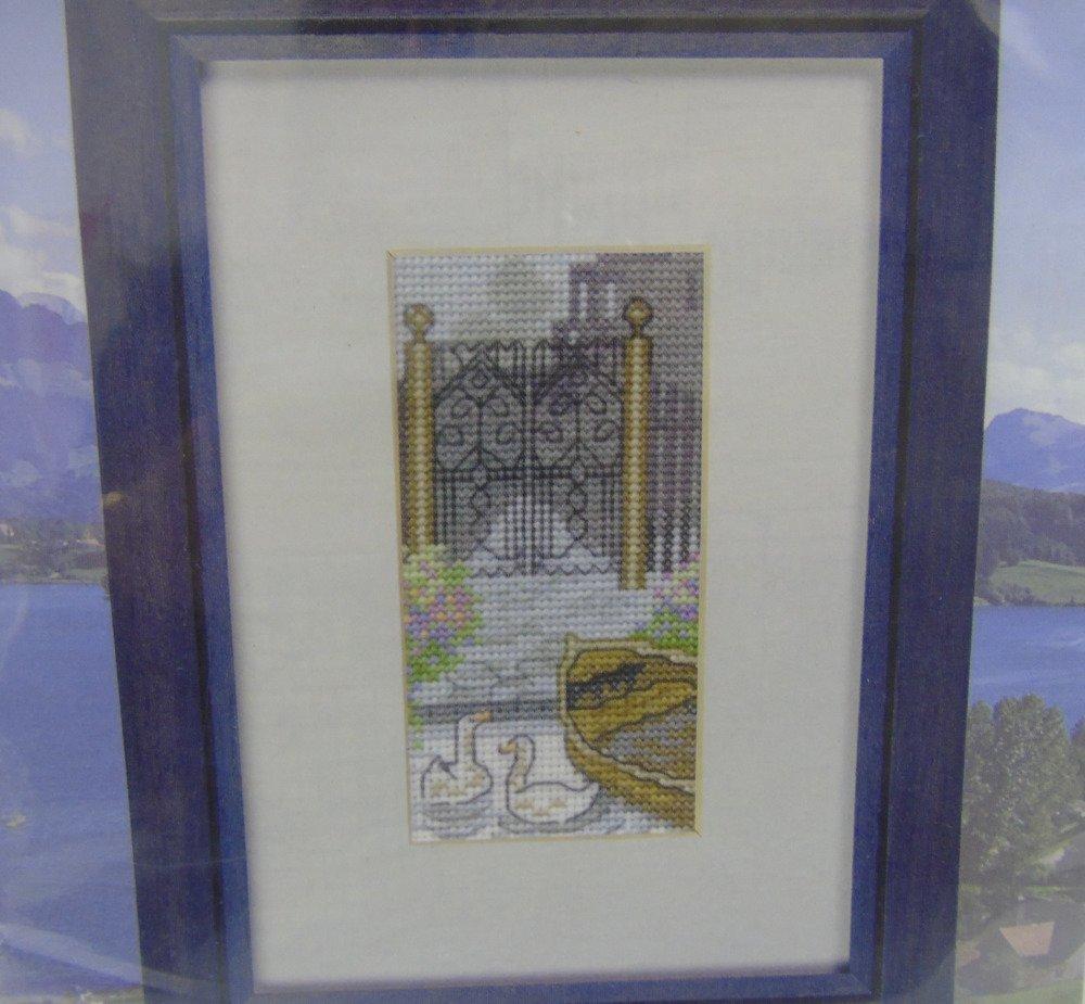 """Kit """"Les cygnes"""", points de croix 17x12cm"""