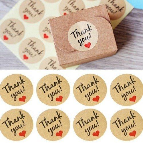 """Lot de 12 étiquettes remerciement """"thank you"""""""