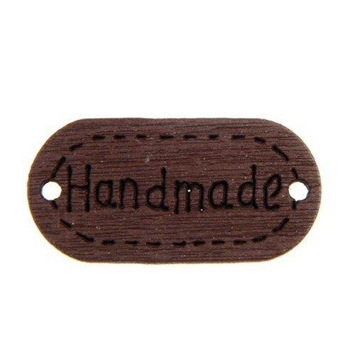 """Etiquette """"hand made"""" en bois marron"""