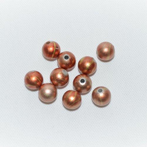 Lot de 20 perles tourbillon orange