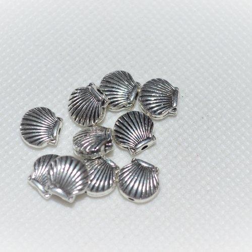 Lot de 10 perles coquillage argenté