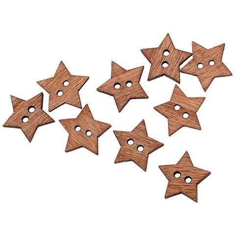 Bouton en bois étoile marron