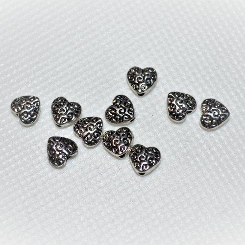 Lot de 10 perles coeur en métal argentée