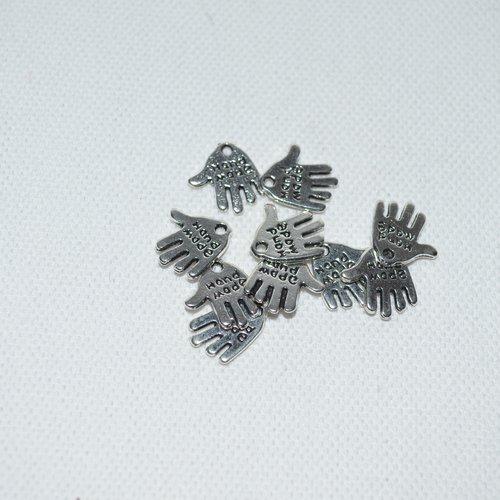 Lot de 40 breloques main hand made argentée
