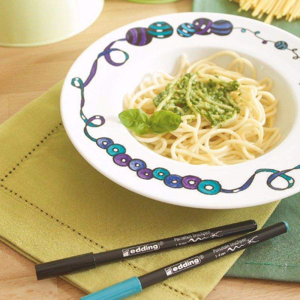 Lot de 6 Stylos Marqueur pour Porcelaine Bleu vert Violet Turquoise Couleurs Brillantes Assortis - edding - Feutre pointe pinceau fine à large
