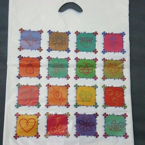 100 sacs 30x45cm pochettes cadeaux  déco printemps fleurs papillon raisin abeille oiseau cerises bombons