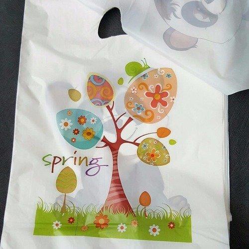Lot de 100 grand sacs 22x33cm pochettes cadeaux emballage déco printemps arbre feuilles fleurs 1e