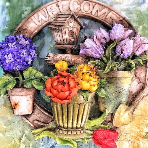 Moule silicone couronne déco welcome pot de fleur pelle roses tulipe hortensia nid pour plâtre résine savon cire argile fimo k151 6g1750