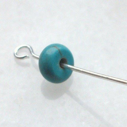 6 perles rondelle 6x3mm percé pierre fine howlite turquoise gemme pierre naturelle semi précieuse