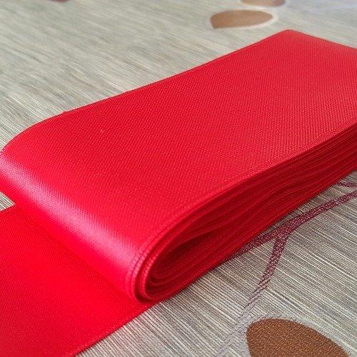 10 mètres de ruban tissu satin rouge largeur 6cm en pour décoration emballage couture a8
