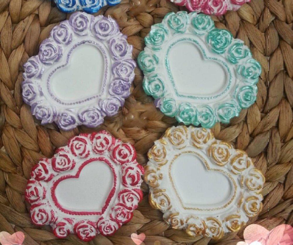 Moule Silicone pour Cadre Photo Cœur Fleurs Roses pour Pâte Polymère Fimo Plâtre Résine Argile Polyester Savon Cire K188 çB