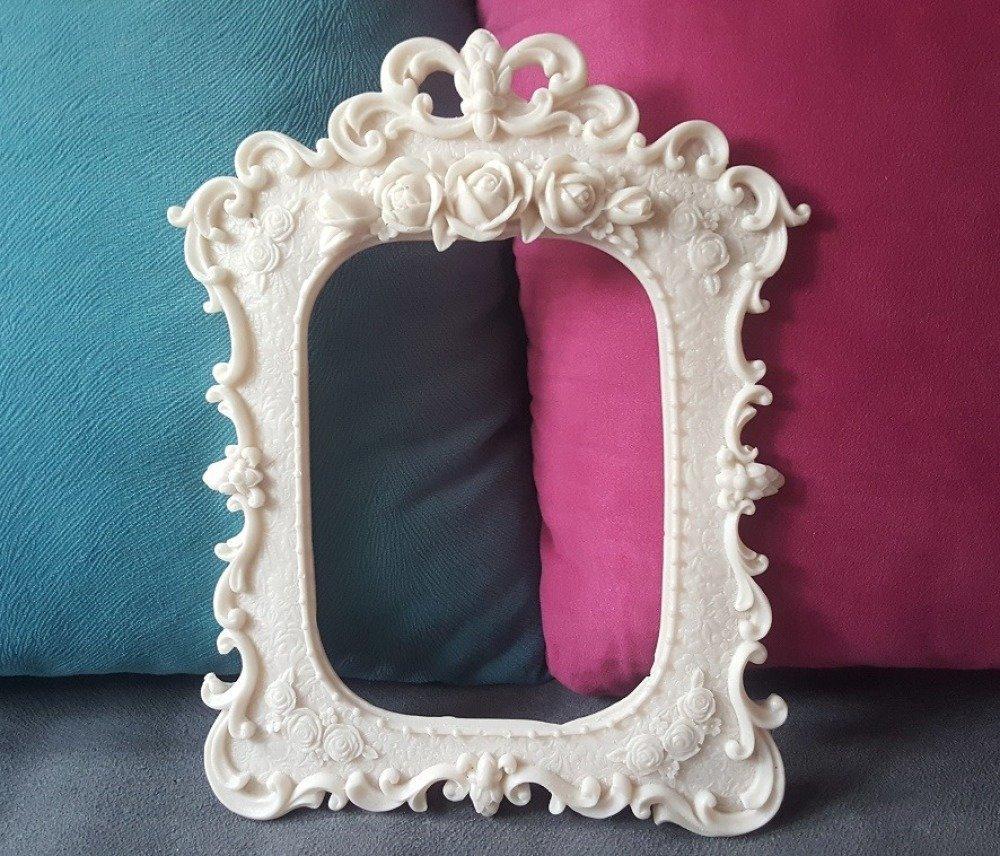 Moule Silicone Cadre Photo Miroir 26cm déco Fleur Roses Lianes pour Plâtre WEPAM Argile Cire Résine Savon Argile K195