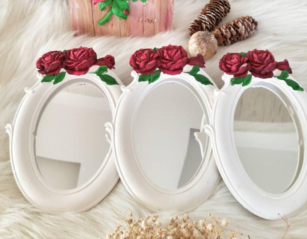 Moule Silicone Cadre Photo Ovale 20cm déco Fleur Roses pour Plâtre WEPAM Résine Cire Savon Argile Polyester Béton Ciment Fimo K541 HK