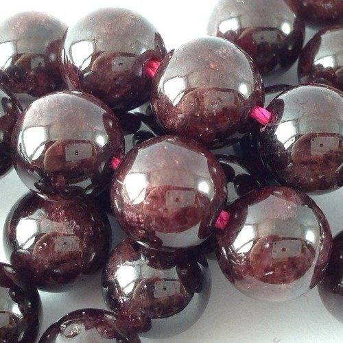 30 perles de pierre naturelle semi précieuse 10mm grenat  a42