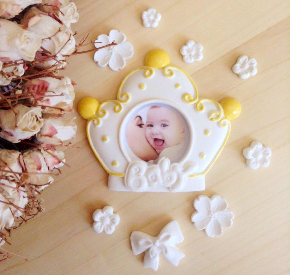 Moule Silicone Cadre Photo Bébé Baby Couronne pour Pâtre Fimo Wepam Cire savon Fimo Argile Polyester Ciment  K530 HK