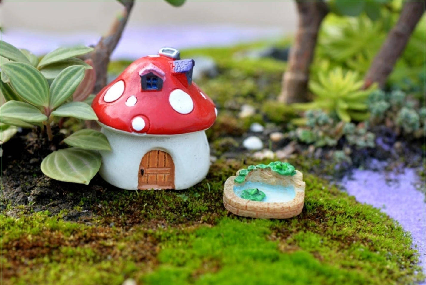 Moule Silicone Mini Fontaine Bassin Japonais 3D Rond Pierre Nénuphar Feuilles pour Terrarium pour Plâtre Cire Savon Résine Fimo K389 çT