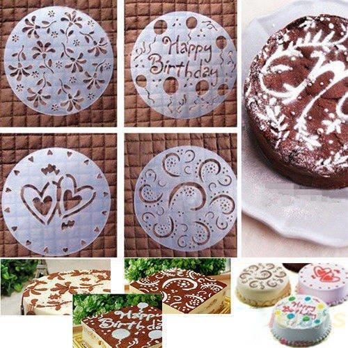 Quatre Fleur Pochoir Pour Décoration Gâteau