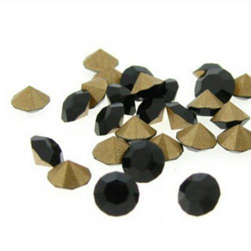 1400 strass en verre facetté noir ss12 pp24 3mm fond conique à facette t4