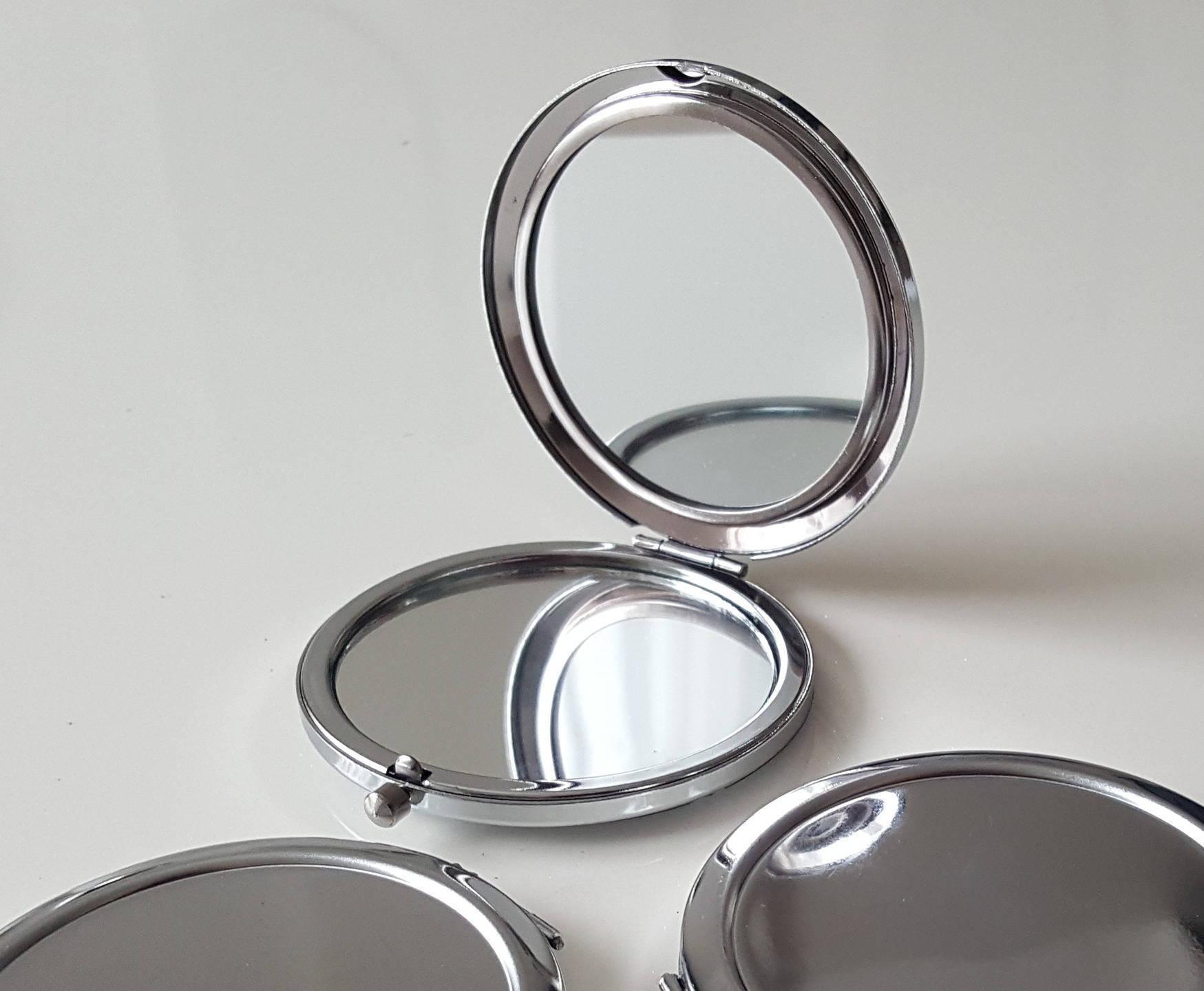 Customiser Un Cadre De Miroir miroir de poche rond en métal argenté 7cm sans cabochon à customiser décorer