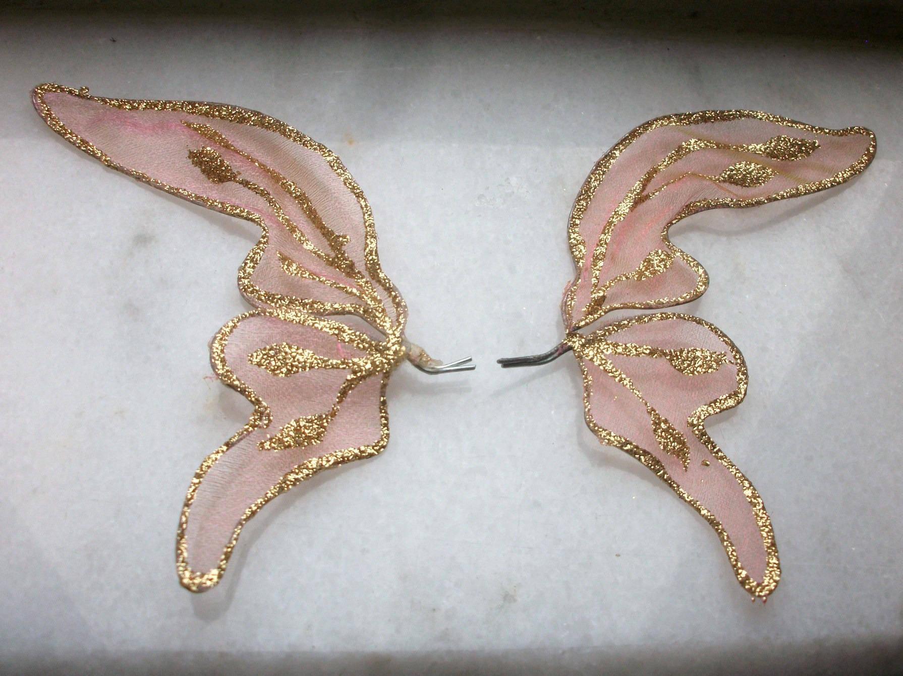 Paire d ailes en Tulle Rose Pailleté 21x9cm Paillette doré brillant EMBELLISSEMENT Decoration Noel