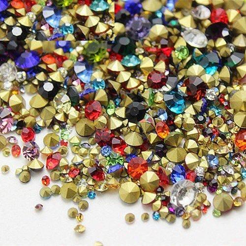 1000 strass en verre facetté multicolore ss12 3mm fond conique à facette en mélange t4