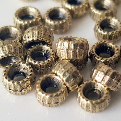 60 entretoises tube 4,6mm avec rayures incrustés en métal bronzé