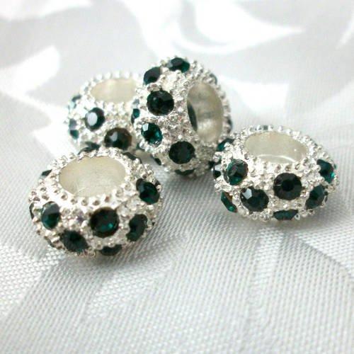 1 perle strassées style pandora en métal argenté et strass emeraude ♥  11x6 mm ♥   a28