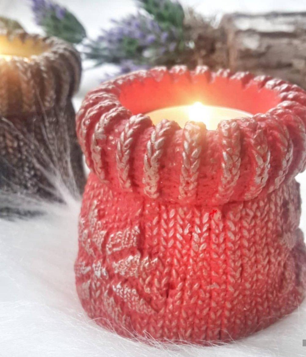 Moule Silicone Support Bougie Tealight Tricot Bougeoir pour Plâtre Cire Savon Résine Argile Béton Polyester K367 RF