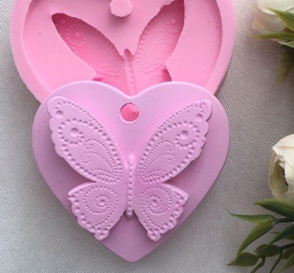 Moule Silicone Papillon Coeur Suspension pour Fimo Plâtre Porcelaine Cire savon Résine Ciment Polyester WEPAM K425