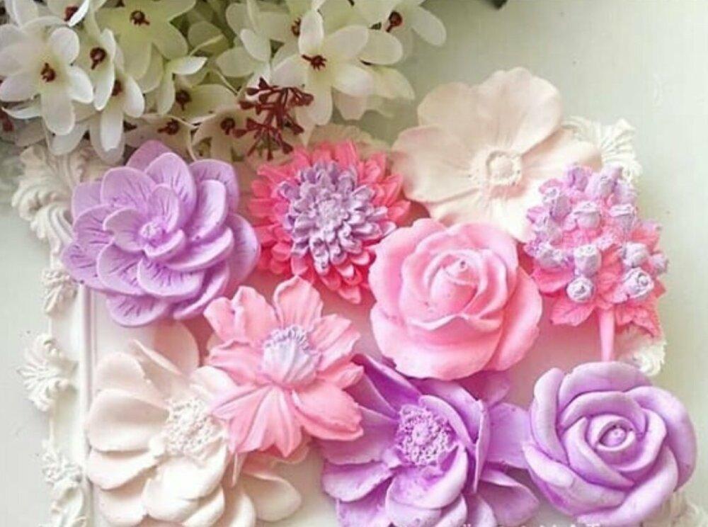 Moule Silicone 6 Fleurs Roses 3D pour Pâte Polymère Fimo Plâtre Savon Bougie Résine Argile Polyester Cire Ciment K381 HK