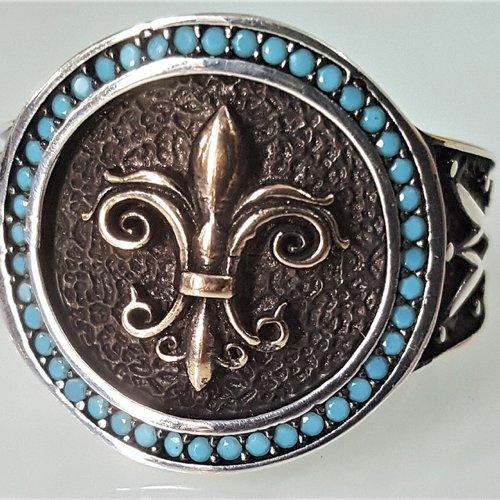 Bague chevalière homme femme 8g en argent massif 925 déco lys royal lis serti strass turquoise a23