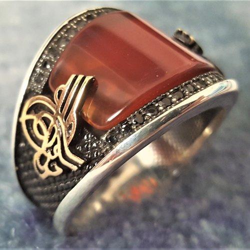 Bague chevalière homme 9g en argent massif 925 serti cabochon pierre naturelle semi précieuse agate rouge et strass noir