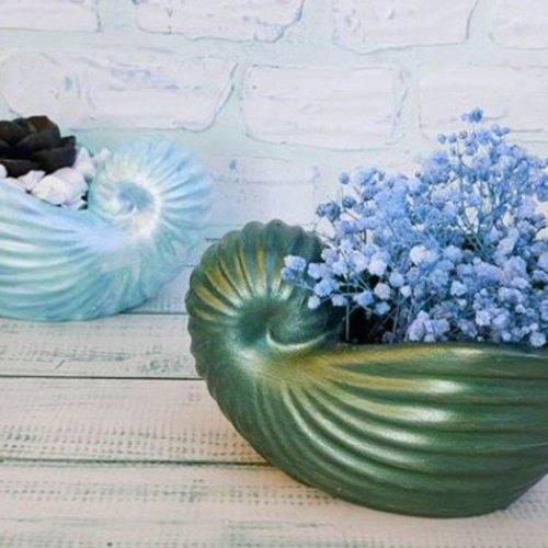 Moule silicone pot coquillage 15cm pour fleur cactus succulent pour plâtre porcelaine cire savon résine argile polyester béton wepam