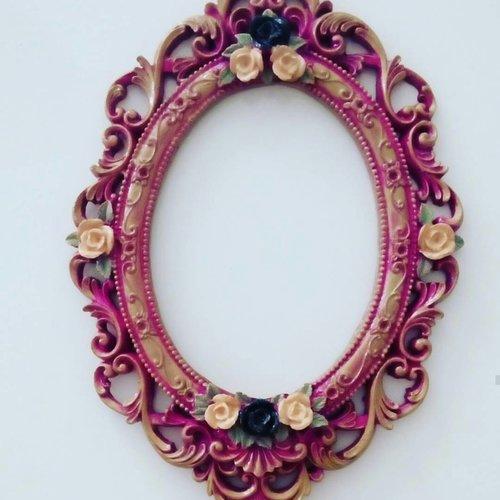 Grand moule silicone cadre photo miroir 40cm rose pâte polymère fimo plâtre wepam résine cire savon argile polyester