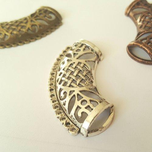 1 bélière à foulard 48mm en métal argenté déco découpé pour foulard afin d'y attacher plusieurs objets pendentifs filage a35 b1a