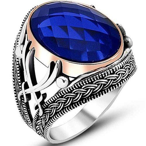 Bague chevalière homme 12g en argent massif 925 épée serti zircon facette ovale facetté couleur bleu marine