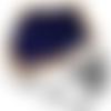 Bague chevalière 12g en argent massif 925 ambre bleu rectangle