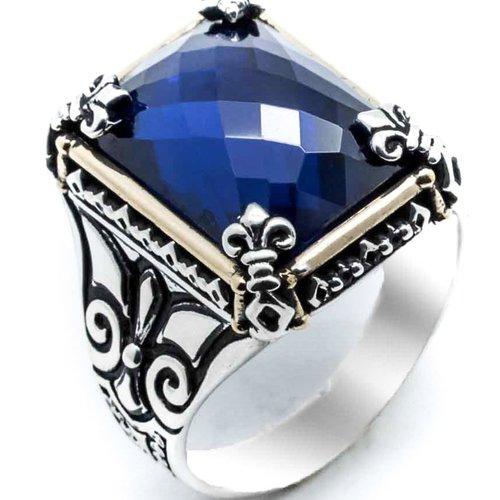 Bague chevalière homme 16g en argent massif 925 serti pierre zircon bleu facetté fleur de lys