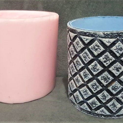 1 moule silicone pot tasse 9cm déco losanges pour pâte fimo plâtre porcelaine cire savon résine ciment argile k627
