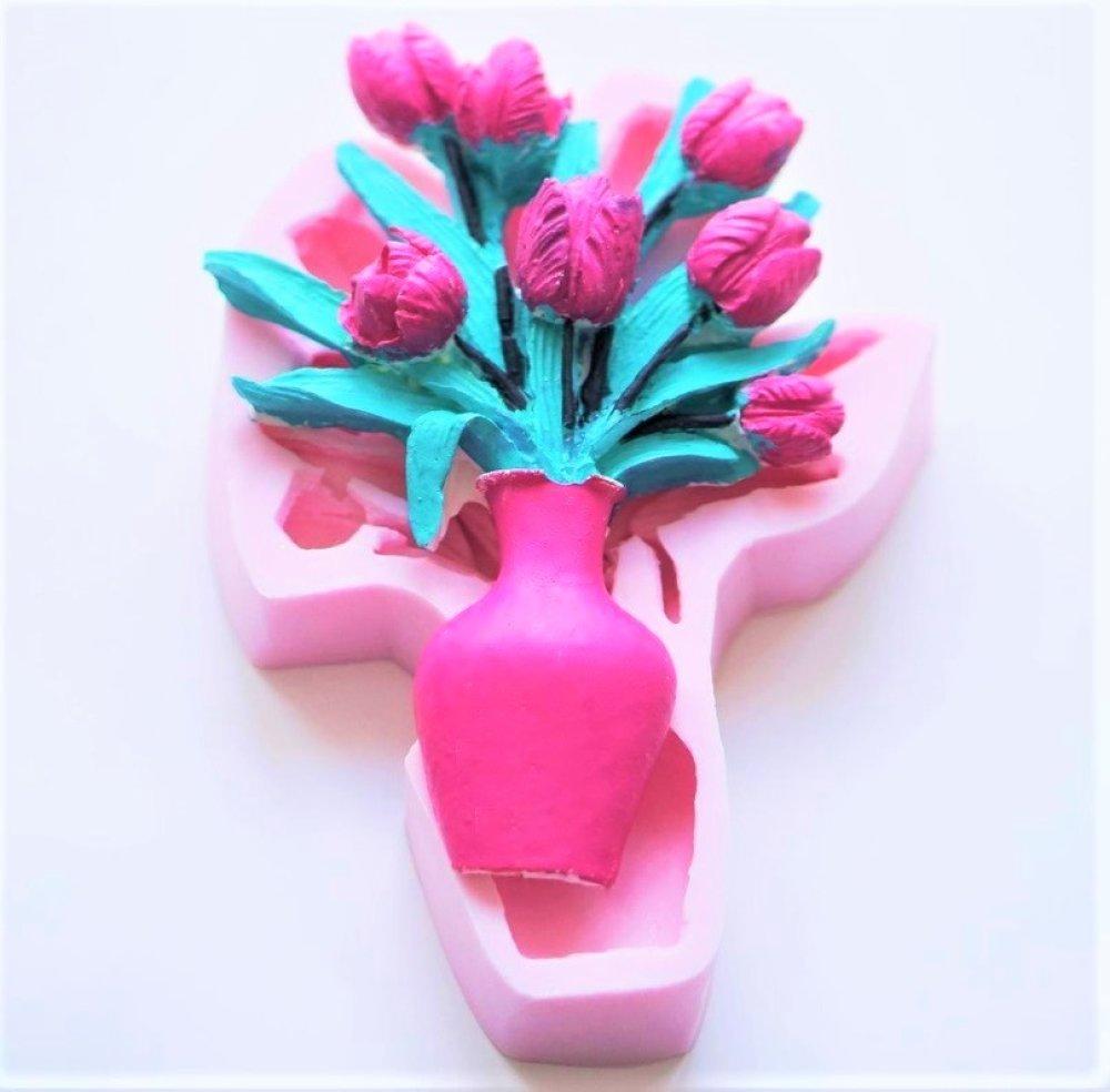 Moule Silicone Bouquet Fleur Vase Tulipes 17cm pour Plâtre Cire savon Argile Résine Bougie Polyester WEPAM Béton Fimo