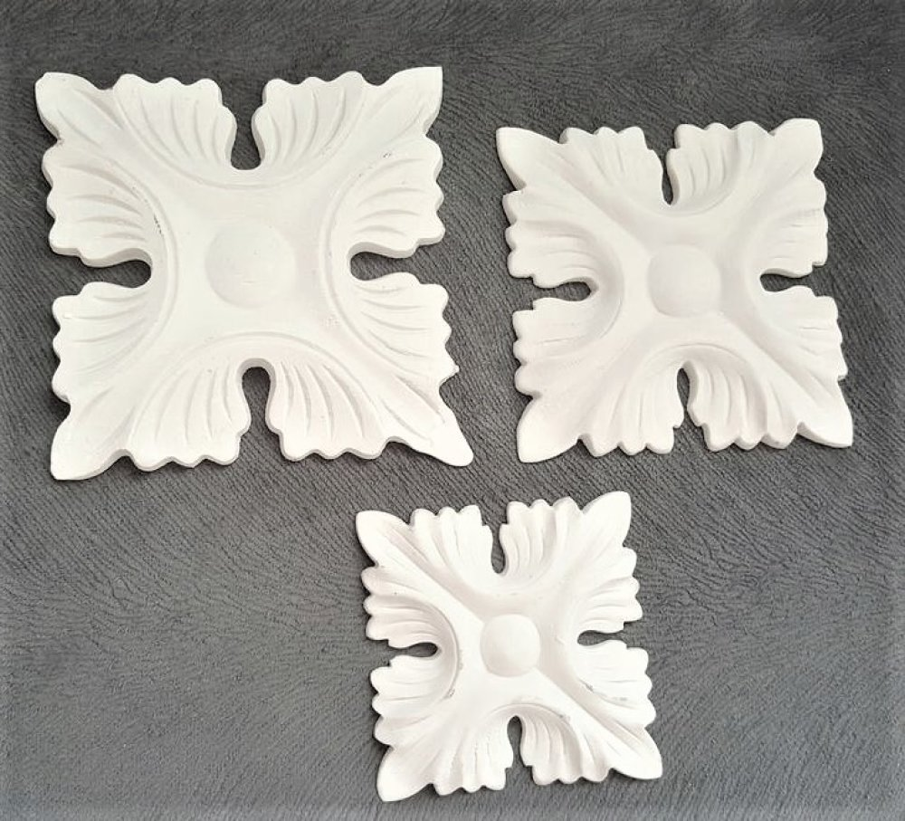 Moule Silicone Grande Applique Murale Déco Feuilles Carré pour Bordure pour Fimo Plâtre WEPAM Résine Cire Savon Argile Polyester K670 OR