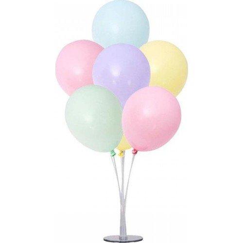 Stand pour table tiges de support à ballon porte-bâton pour anniversaires mariages décoration de fête avec 7 ballons couleur pastelle