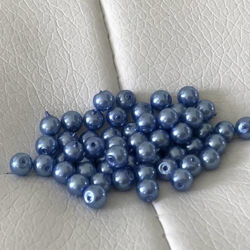 Perle  en verre nacré de 4 mm couleur bleu lavande
