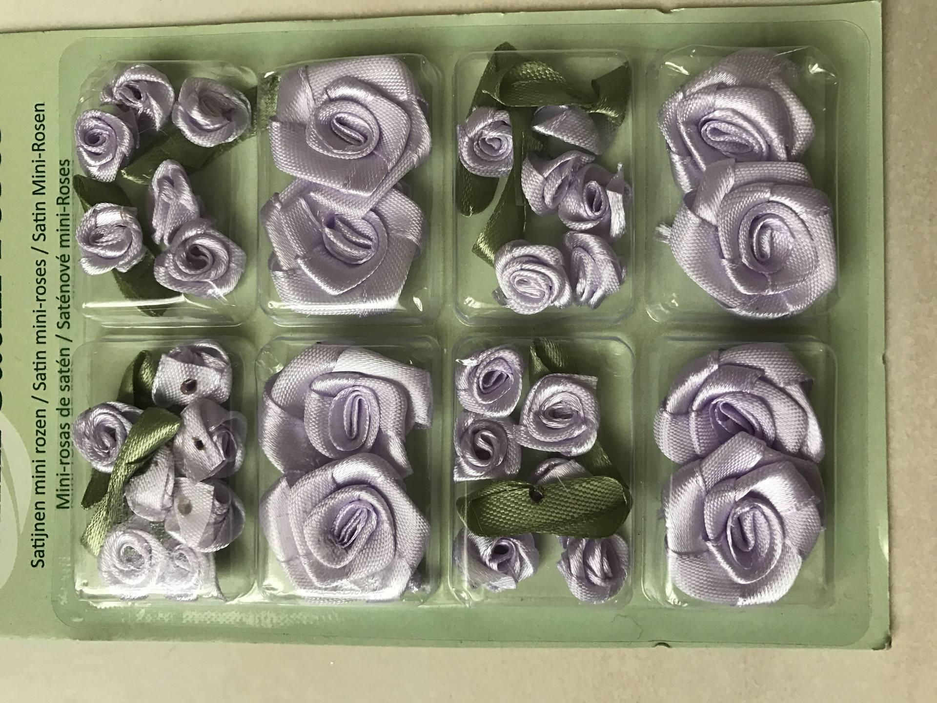 Lot de 25 rose en satin de 1 cm a 2,5 cm de diamètre couleur violet