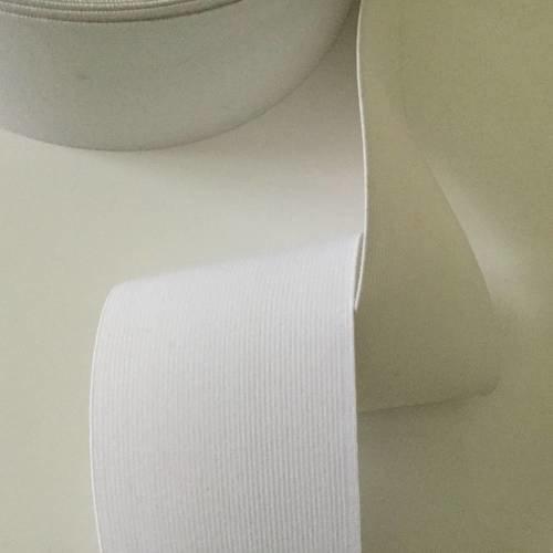 Ruban elastique de 8 cm de largeur couleur blanc