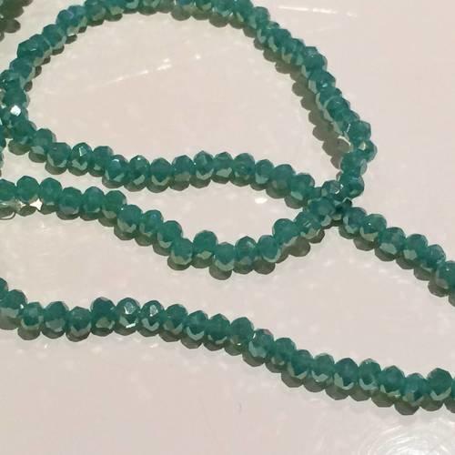 Perle en cristal a facette de 3 mm vert