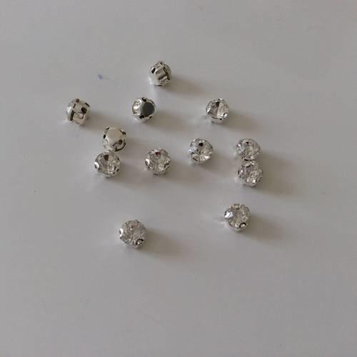 Lot de 15 strass en cristal argenté de 6 mm sertissé a coudre