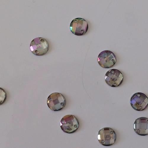 Strass a coudre couleur ab 7 mm de diametre en acrilique