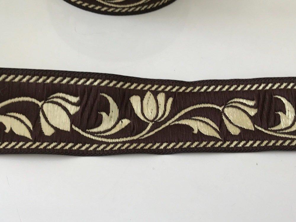 Galon medievale 3,5 cm marron  doré  bien large