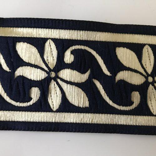 Galon medievale 5 cm bleu doré  bien large